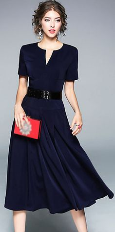 Brief V-Neck Short Sleeve A-Line Pleated Dress