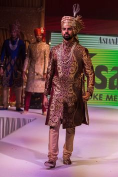Asian Wedding Fashion Gold Groomswear Sherwani and khalsa turban from Ahsans Check out this great fashion look I found on http://www.AsianBride.me