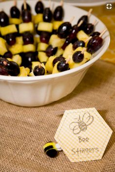 50 Adorable Ideas to Pull Off the Most Popular Baby Shower Themes for Boys - Bee stinger snacks Fete Anne, Baby Shower Fruit Tray, Food For Baby Shower, Baby Shower Snacks, Shower Baby, Bumble Bee Birthday, Bee Birthday Cake, Birthday Bbq, Purple Birthday