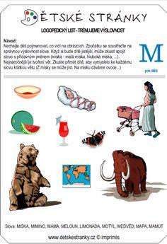 logopedický list M - děti Learning, Logos, Movie Posters, Film Poster, Popcorn Posters, Film Posters, Study, Logo, Teaching