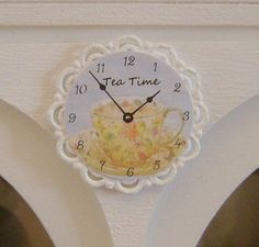 TEA TIME Wall CLOCK Shabby Chic Home - Dollhouse Miniature 1/12 Scale. $15.00, via Etsy.