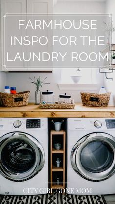 12 Inspirational Farmhouse ideas for your laundry room! Check out where we are grabbing our inspiration from! Mudroom Laundry Room, Laundry Room Shelves, Tiny Laundry Rooms, Laundry Room Remodel, Laundry Room Organization, Laundry Room Design, Kitchen Remodel, Farmhouse Laundry Rooms, Laundry Room Makeovers