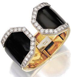 18 Karat Gold, Platinum, Enamel and Diamond Bracelt by David Webb