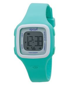 Rip Curl Women's A2466G - MNW Candy Mint White Digital Watch Rip Curl. $90.00. Silicone Case and Strap. Water-resistant to 100 M (330 feet). Waterproof and depth tested up to 100 meters (330 feet). Hardeded Acrylic. Date, Alarm, Stopwatch, and Light. Whether you're swimming a few laps in the pool, going for a late afternoon run, or stand-up paddle boarding, let the Rip Curl Women's Candy Digital Silicone Watch keep you on time. Its flexible, durable strap with...