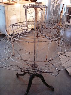 white chippy....rusty....french wire plant stand....love...