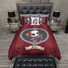 Lightweight Lola Candy Skull Girl Comforter Cover & por InkandRags