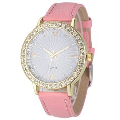 320993ce8347b Elegant Rhinestone GOld Toned Case Dress Pu Leather Pink Strap Woman Gift  Teen Watch