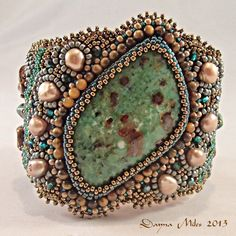 Bead Embroidery Statement Cuff Bracelet Green Turquoise Bronze Fresh Water Pearls OOAK. $178.00, via Etsy.