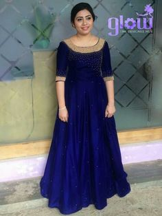 Best 12 Whatsapp on 9496803123 for customisation Simple Gown Design, Long Dress Design, Dress Neck Designs, Party Wear Frocks, Gown Party Wear, Indian Wedding Gowns, Indian Gowns Dresses, Long Gown Dress, Frock Dress