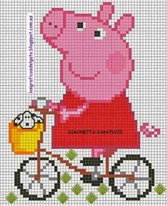 Peppa Pig on Bicycle Cross Stitch Pattern Unicorn Cross Stitch Pattern, Disney Cross Stitch Patterns, Cross Stitch Baby, Cross Stitch Animals, Cross Stitch Charts, Cross Stitch Embroidery, Jumper Knitting Pattern, Knitting Charts, Knitting Patterns Free