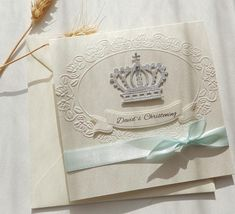 Crown and cross Christening boy invitation/Elegant Baptism