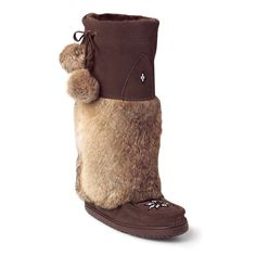 A 'mukluk' is an Aboriginal word for 'winter boot'. Our ancestors created them thousands of years ago out of natural hides and fur in order to survive in the coldest places in Canada. This Kanada Mukluk is the most iconic mukluk style and has been passed down to us from generation to generation. Now as a contemporary Métis company, we continue the tradition by combining modern techniques and materials to make functional mukluks for urban environments.
