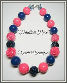 """""""Nautical Rose"""" Chunky Beaded Necklace , Photo Prop, Adult / Children"""