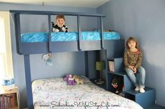 Schlafzimmer Einrichten - 31 Free DIY Bunk Bed Plans & Ideas that Will Save a Lot of Bedroom Space - Schlafzimmer Ideen Safe Bunk Beds, Cool Bunk Beds, Kids Bunk Beds, Loft Beds, Bunk Bed Designs, Small Bedroom Designs, Triple Bunk Beds, Bunk Bed Plans, Diy Home
