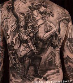 Gorgeous back piece by Carlos Torres #inkedMagazine #blackandgrey #tattoo #tattoos #Inked #ink #art #realism