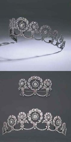 AN EXQUISITE BELLE EPOQUE DIAMOND TIARA, BY CARTIER. Designed as a series of eleven graduated diamond garlands, the centre of each suspending a diamond collet within openwork cluster with swag and collet stems, also fittings to form a smaller tiara and a stomacher brooch, 1908, 29.3 cm. inner circumference, with French assay mark for platinum, in original Cartier red leather fitted case stamped 13 rue de la Paix, London 4 New Burlington St.
