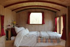 The Train Carriage – Bedroom Space – Photos: Canopy and Stars - Modern Tiny House Blog, Building A Tiny House, Compact Living, Tiny Living, Tiny Home Cost, Canopy And Stars, Large Beds, Space Photos, Tiny Spaces