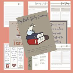 Pretty printable Bible Study journal for your spiritual growth to help you get organized and record your Bible study, sermons you hear, memorization verses and any other notes. This printable contains 10 printable pages. Word Study, Study Notes, Sermon Notes, Online Bible Study, Christian Post, Bible Study Journal, Christian Resources, My Bible, Cool Words