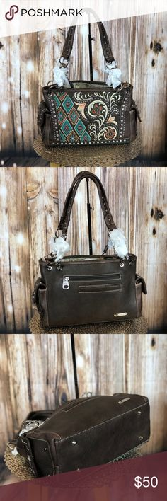 a5dd3a9810 Montana West Embroidered Satchel Brown PU leather Embroidered pattern  Accented with crystal and silver studs A