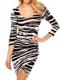 51284d8d21bba [US$33.99] - Zebra Print Tulip Bottom Cowl Neck Bodycon Short Dresses :  ThatsPoint. Sexy Party DressClub ...