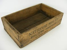 great website for old boxes, iron baskets and pulleys. old vintage antique wooden box advertising National Manufacturing Company Builders Hardware of Sterling,Illinois Antique Wooden Boxes, Rock Falls, Old Boxes, Home Decor Kitchen, Old Pictures, Workplace, Illinois, Vintage Antiques, Baskets