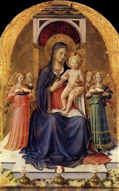 Perugia Altarpiece (central panel) by Fra Angelico Fra Angelico, Catholic Art, Religious Art, Catholic Saints, Saint Dominique, Italian Renaissance Art, Italian Paintings, Madonna And Child, Italian Art