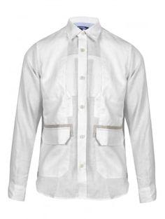9c4aeebe9558 Junya Watanabe MAN for Comme des Garcons Junya Watanabe Comme des Garcons  MAN White Linen Jacket Shirt