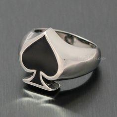 Men's Silver Black Stainless Steel Poker Spade Motor Biker Lucky Ring Good Luck