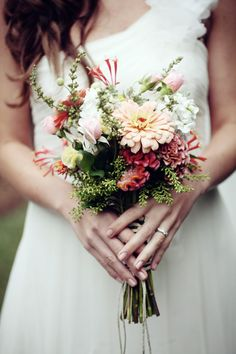 Wildflower bouquet in peaches and creams by Flora Verdi