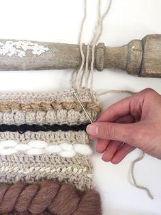 Free Crochet Pattern for a Crocheted & Woven Wall Hanging — Megmade with Love Crochet Wall Art, Yarn Wall Art, Crochet Wall Hangings, Weaving Wall Hanging, Crochet Home, Free Crochet, Crochet Cable, Crochet Pillow, Crochet Mandela