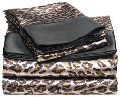Satin Leopard Sheets | Safari Bedding for new bedroom with a black comforter
