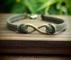 Infinity Wish Bracelet Bracelet in Bronze, Dark Green Imitation leather Bracelet, Men Gift-Boy Bracelet-Best Friendship Jewelry Gift