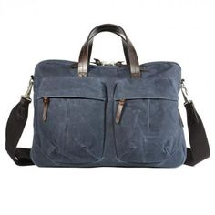 """tommy work bag (indigo)  is a bag out of waxed cotton and strong leather from """"property of.."""" a young label from Singapoure (€ 188,- instead of € 228,-)"""