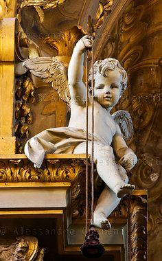 "Baroque Baby Angel Statue Church of ""La Santa"" Bologna, Italy"