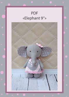 elephant pdf pattern, PDF Plush elephant, stuffed elephant, Soft Animal, Animal toy, сloth toy