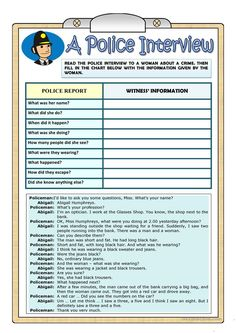A POLICE INTERVIEW- PAST CONTINUOUS worksheet - Free ESL printable worksheets made by teachers