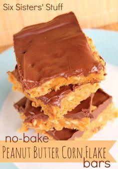 No-Bake Peanut Butter Corn Flake Bars | Six Sisters' Stuff