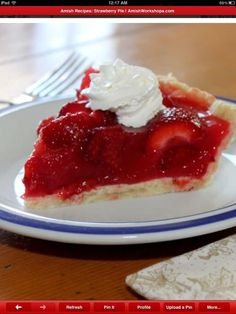Amish Strawberry Pie-this one uses a few tbsp. of strawberry gelatin.