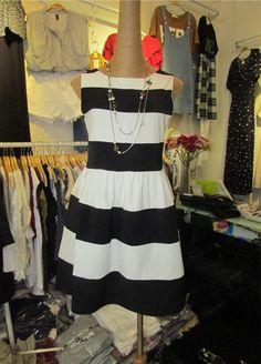 Women High Waist Stripes Navy Nautical Skater Dress