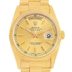 16176 Rolex President Day-Date Yellow Gold Champagne Dial Mens Watch 18238 SwissWatchExpo