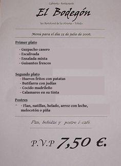 """Menú del día Posibilidad de utilizar el documento con la grabación """"¿Qué me aconseja?"""" www.spanishpodcast.org"""