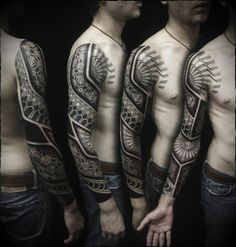 Fun, creative, rebellious, many people love getting tattoos and use them as a platform for self-expression. Tattoos can be satisfying both physically while looking at them and mentally when you con… Tribal Tattoos, New Tattoos, Tattoos For Guys, Tatoos, Geometric Sleeve Tattoo, Full Sleeve Tattoos, Tattoo Sleeve Designs, Cover Tattoo, Arm Tattoo