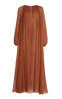 Gathered Plissé Silk Maxi Dress by Matteau African Maxi Dresses, Striped Maxi Dresses, Women's Dresses, Bride Dresses, Elegant Summer Dresses, Simple Dresses, Maxi Wrap Dress, Maxi Dress With Sleeves, Abaya Fashion