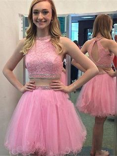 Two Pieces A-line Prom Dress Homecoming Dress Short/Mini Prom Drsess Juniors kmy201