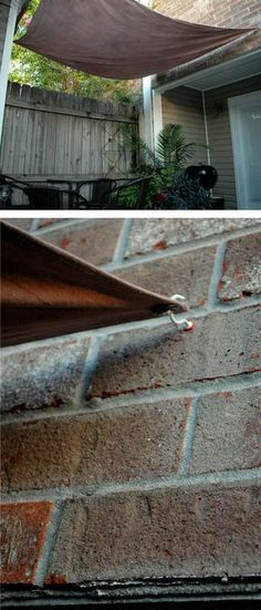Awesome DIY Projects to Make Backyard and Patio More Fun Wall-Anchored backyard sun shade. When you remove the canopy, the hooks are barely noticeableWall-Anchored backyard sun shade. When you remove the canopy, the hooks are barely noticeable Deck Shade, Backyard Shade, Outdoor Shade, Ponds Backyard, Backyard Patio, Backyard Landscaping, Backyard Ideas, Patio Ideas, Landscaping Ideas