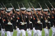 The Marines in dress uniforms marching formation, Hard Corps