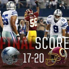 definitly will go down in history! Redskins Football, Redskins Fans, Football Team, Football Helmets, Nfc East, Washington Redskins, My Side, Football Season, Dallas Cowboys