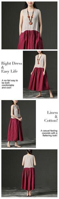 Sleeveless Linen Leisure Summer Women Dress