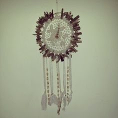Hand made white lace, shells, doily and driftwood dreamcatcher by Driftwood Gypsy
