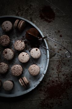 chocolate macarons with peppermint cream.